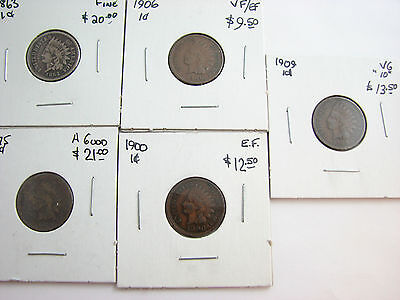 1863 1875 1900 1906 1909 small cent United states lot of 5 coins circulated