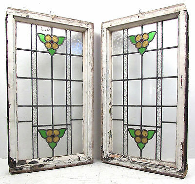 Pair of Vintage Antique Stained Glass Windows (2723)NJ