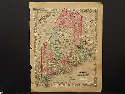 Johnson's Maps, 1864 United States, Maine O3#85