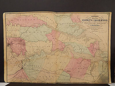 Johnson's Maps, 1864, Civil War, Richmond Virginia, Peninsular Campaign O3#87