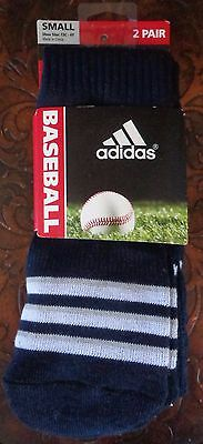 Adidas Baseball Socks 2 Pack Collegiate Navy/White Youth Size Small - New