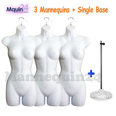 3 Pcs Mannequin Body Forms *white* +1 Stand + 3 Hangers Female Clothing Display