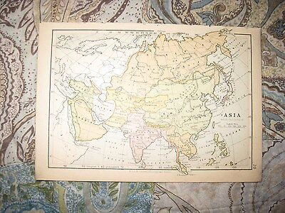 Antique 1880 Asia & Palestine Map Jerusalem Israel China Japan India Arabia Nr