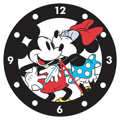 """Walt Disney Classic Mickey and Minnie Mouse Cordless Wooden Wall Clock 13.5"""" NEW"""