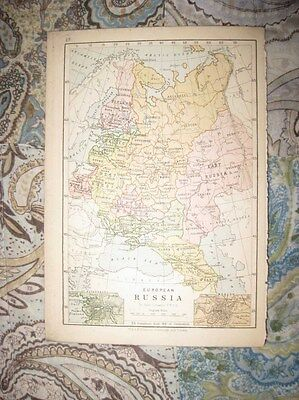 Antique 1880 Russia In Europe Moscow St Petersburg Norway Sweden Denmark Map Nr