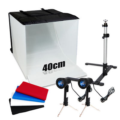 "Photo Studio 16"" Photography Lighting Tent Kit Backdrop Cube In A Box Mini Stand"
