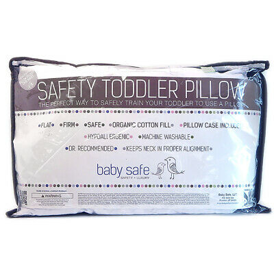 Baby Safe Safety Toddler Pillow Hypoallergenic 21x13 Organic Cotton Flat Firm