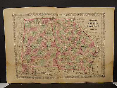 Johnson's Maps, 1864, United States, Georgia, Alabama O4#06