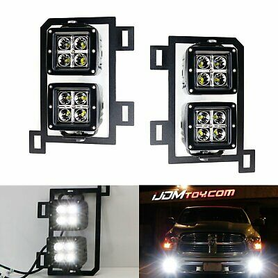 80W Dual LED Pods w/ Foglight Location Bracket, Wirings For 13-18 Dodge RAM 1500