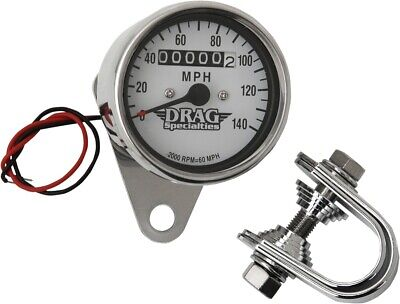 "Drag Specialties 2.4"" Mini Mechanical Speedometer 140mph 2:1Ratio DS244135"