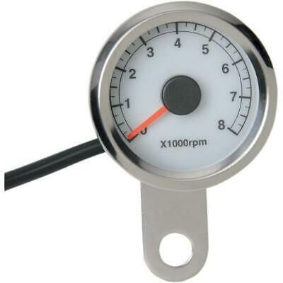 """Drag Specialties 1-7/8"""" Electronic Tachometer - Polished w/White Face 2211-0122"""