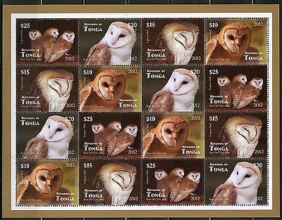 Tonga Unissued Set Of Four Owls Stamps In Minature Sheetlet Mint Nh