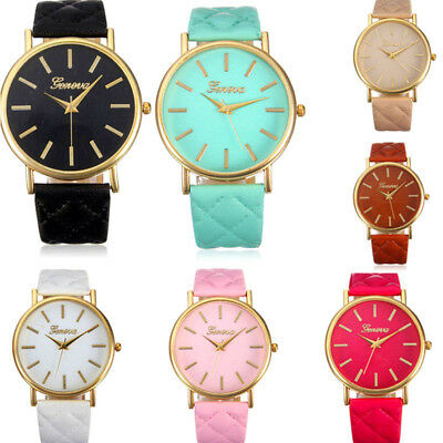Popular Women Geneva Roman Watch Lady Leather Band Analog Quartz Wrist Watch