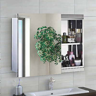 HOMCOM Mirror Cabinet Chest Shelves Sliding Wall Mounted Mirror Storage Bathroom