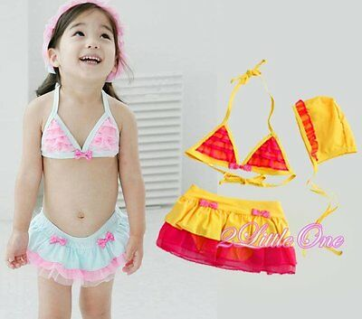 3Pcs Girl Swimsuit+Cap Swimwear Swimming Costume Bath Suit Tankini Sz 6-7 #026