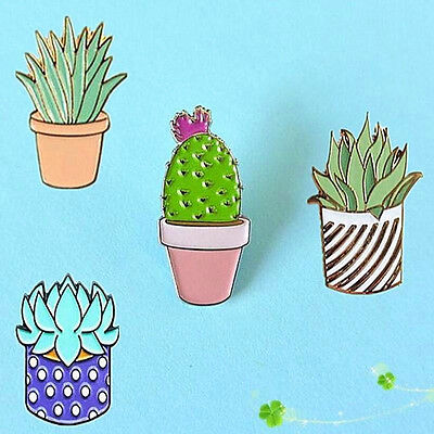 Cute Cactus Lotus Flower Grass Potted Corsage Collar Brooch Pins Jewelry