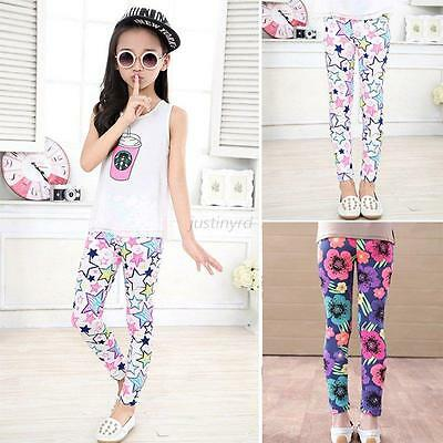 Cute Baby Kids Girls Flower Leggings Tight Pants Floral Elastic Long Trousers
