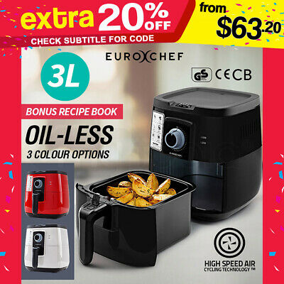 3L NEW EuroChef Air Fryer-  Oil Free Healthy Kitchen Non Stick Cooker