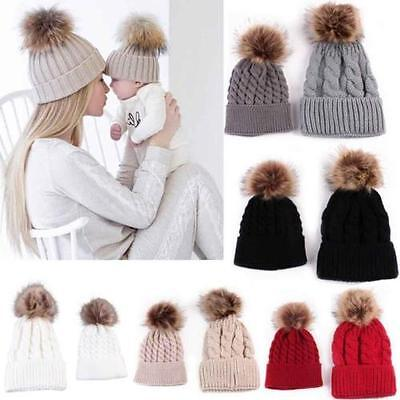 2Pcs Women Mother Baby Child Warm Winter Knit Beanie Fur Pom Hat Crochet Ski Cap