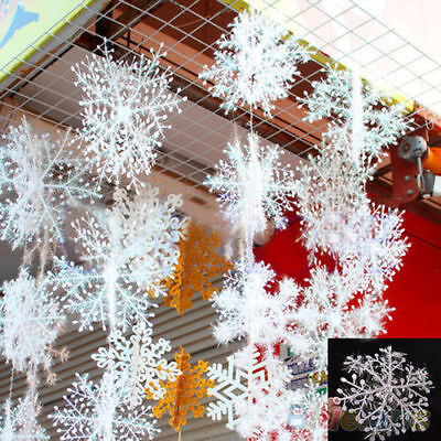 30pcs Blanc Flocon de Neige Ornement Noël Fête Sapin Décor Maison Décoration