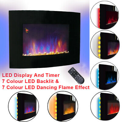 2KW LED Curved Glass Electric Fireplace Wall Mounted Fire Place Remote Control
