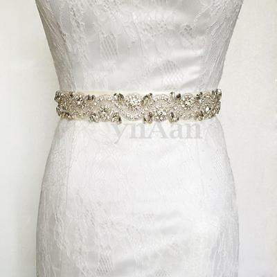NEW Luxurious Handmade Crystal Rhinestone Bridal Ribbon Wedding Dress Belt Sash
