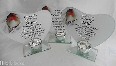 'missing You At Christmas'  Mum/ Dad Remembrance Memorial Plaque & Candle Holder