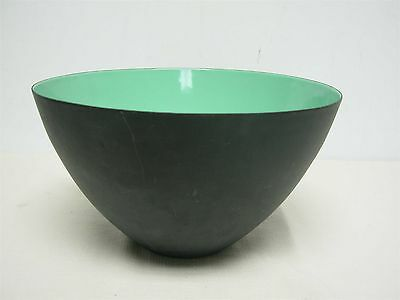 MID CENTURY KRENIT DENMARK MATTE BLACK BOWL with GREEN ENAMEL INSIDE ~ 8""