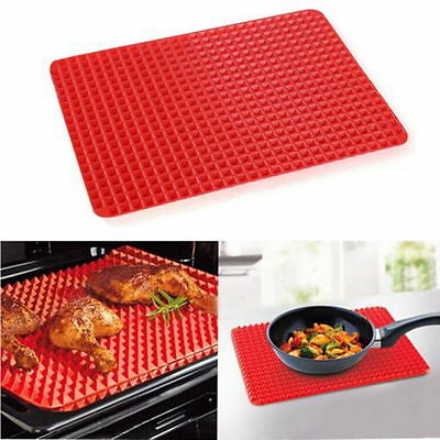Pyramid Pan Non Stick Fat Reducing Silicone Cooking Mat Oven Baking Tray Sheet L