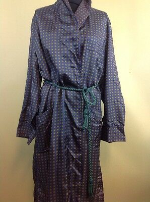 Vintage Men's Trical Dressing Gown Smoking Jacket UK Size Medium Blues & Greens
