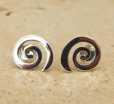 Plain 925 Sterling Silver Spiral Stud Earrings