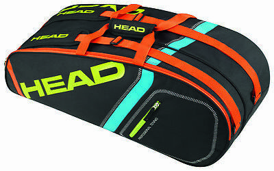HEAD Core Combi 6 racquet racket tennis bag - Black/Yellow - Authorized Dealer