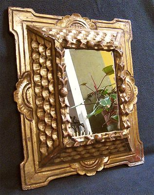 Antique Beautiful Hand Carved Gilt Wood Mirror