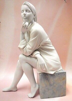 In My Thoughts - Woman Sitting Matte Porcelain Figurine By Lladro 2016  #9243