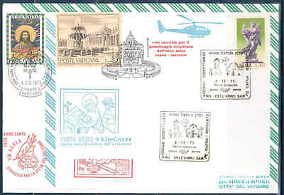Vatican 1975 Holy Year  Aerophilately Combo Special Cancel Cover &italian Stamps