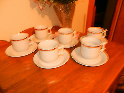 6 Ironstone China J & G Meakin Hanley England Cups & Saucers W/gold Band