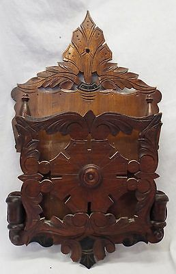 Antique VICTORIAN Carved Walnut Wooden Ornate MAGAZINE RACK w/ MATCH HOLDERS