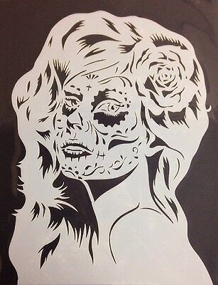 Mylar reusable stencil 10 mils Sugar Skull Girl  for Airbrush design art & craft