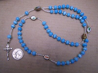 Beautiful Rosary with Blue Plastic Beads and Saints - Mexico