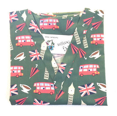 London Town Scrub Top - XL 100% Cotton Travel Multi-Color Unisex PGD