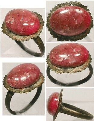 Genuine Ancient Roman Pannonia Hungary Bronze Ring Antique 4½ct Agate Sz9¾ AD300
