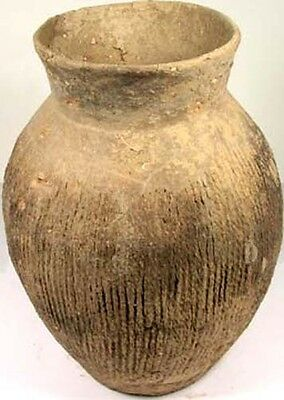 Ancient Neolithic China Xia Dynasty Clay Impressed Design Vase Jar 2000BC