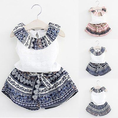 2PCS Kids Baby Girls Outfits T-shirt Tops Dress+Shorts Pants Clothes Set 1-6Year