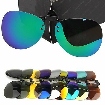 Women Man Polarized Driving Clip-on Flip-up Lens for Sunglasses Glasses