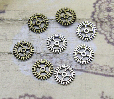 50/150pcs 10mm Antique Bronze silver Lovely Filigree Gear Charms Pendant