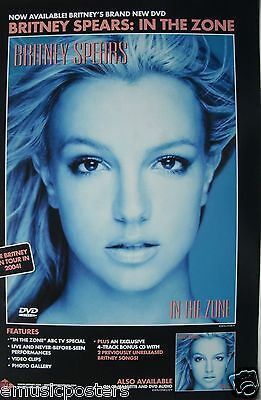 """BRITNEY SPEARS """"IN THE ZONE & 2004 TOUR"""" U.S. PROMO POSTER -Brit's Blowing Hair"""