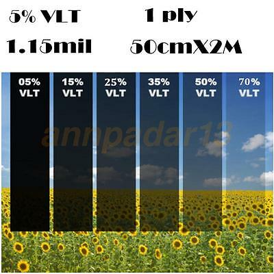 50cm*2M Black Glass Window Tint Film Shade VLT 5% Scratch Resistant Membrane