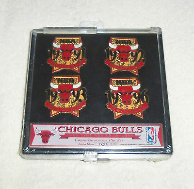 NBA Chicago Bulls 4 NBA Champions Pin Set + Case Limited Edition New and Sealed