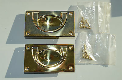 A pair solid brass antique style inset furniture handles military campaign MH3