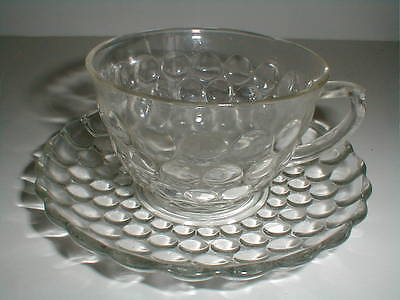 Anchor Hocking Depression Glass Clear BUBBLE Cup Saucer/s